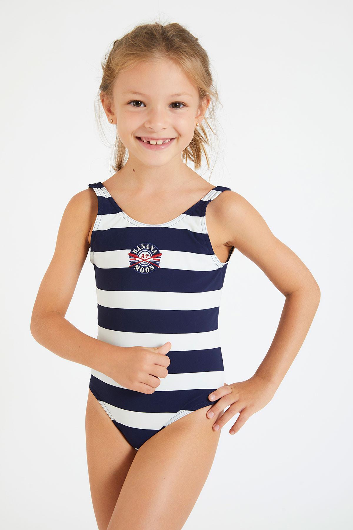 M Blue Beachcombers Girls One Piece Swim Suit Dancing Mermaid