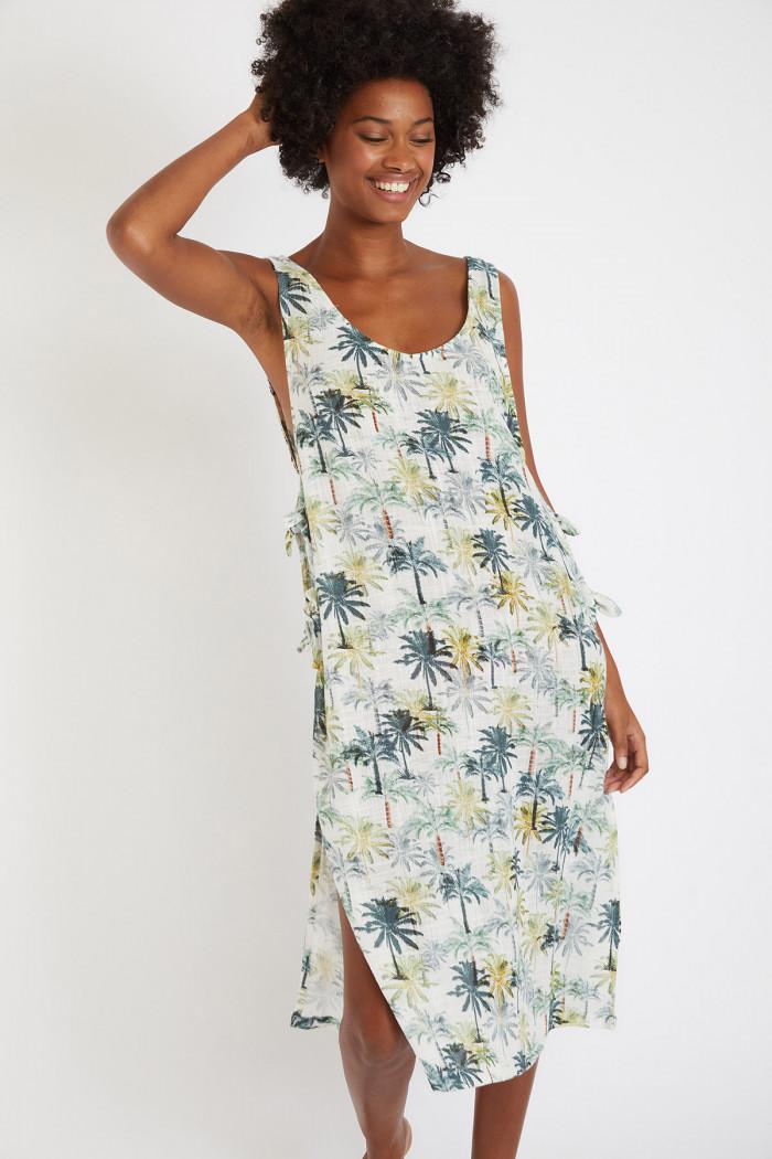 Robe mi-longue écrue imprimé palmiers Pancor Maneho